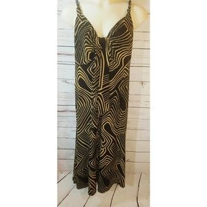 Size 16 Simply Be Black and Tan Print Maxi Dress